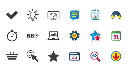 Internet, seo icons. Bandwidth speed, online shopping and tick signs. Favorite star, notebook chart symbols. Calendar, Report and Download signs. Stars, Service and Search icons. Vector