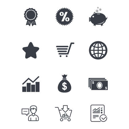 Online shopping, e-commerce and business icons. Piggy bank, award and star signs. Cash money, discount and statistics symbols. Customer service, Shopping cart and Report line signs. Vector