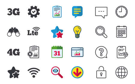 Mobile telecommunications icons. 3G, 4G and LTE technology symbols. Wi-fi Wireless and Long-Term evolution signs. Chat, Report and Calendar signs. Stars, Statistics and Download icons. Vector Фото со стока - 82183409