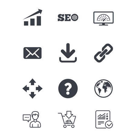 インターネット、seo アイコン。帯域幅の速度は、ダウンロードの矢印とメールの兆候。ハイパーリンク、シンボルを監視します。顧客サービス、ショッピングカート、レポート行の標識。オンライン ショッピングと統計。ベクトル 写真素材 - 82183410
