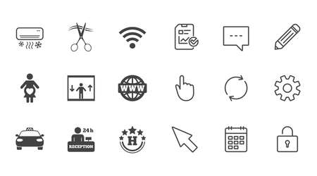 Hotel, apartment service icons. Barbershop sign. Pregnant woman, wireless internet and air conditioning symbols. Chat, Report and Calendar line signs. Service, Pencil and Locker icons. Vector Çizim