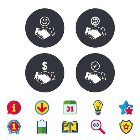 핸드 셰이크 아이콘입니다. 세계, 미소 행복 한 얼굴과 집 건물 기호입니다. 달러 현금 돈입니다. 우호적 인 합의. 달력, 정보 및 다운로드 표지판. 별,  일러스트