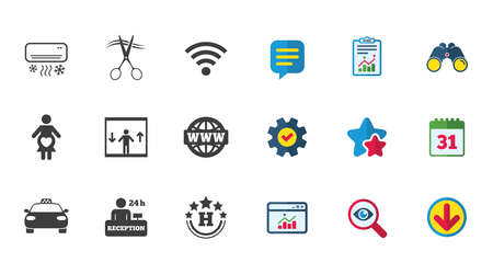 Hotel, apartment service icons. Barbershop sign. Pregnant woman, wireless internet and air conditioning symbols. Calendar, Report and Download signs. Stars, Service and Search icons. Vector Ilustrace