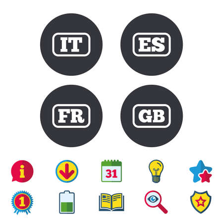 Language icons. IT, ES, FR and GB translation symbols. Italy, Spain, France and England languages. Calendar, Information and Download signs. Stars, Award and Book icons. Light bulb, Shield and Search Illustration
