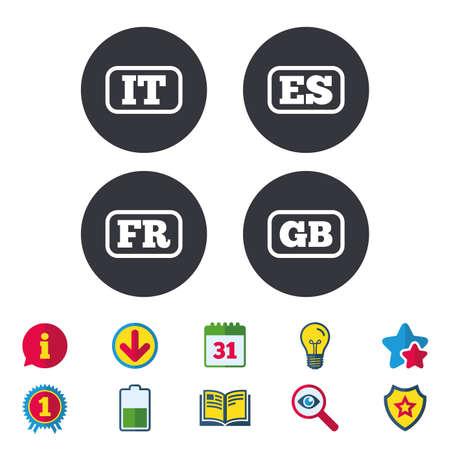 Taalpictogrammen. IT, ES, FR en GB-vertaalsymbolen. Talen van Italië, Spanje, Frankrijk en Engeland. Kalender, informatie en downloadborden. Pictogrammen voor sterren, awards en boeken. Gloeilamp, schild en zoeken