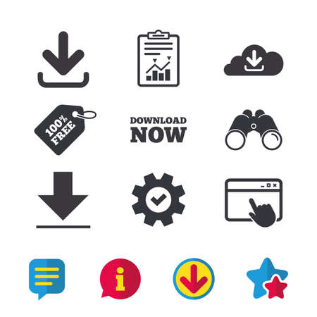 Download now icon. Upload from cloud symbols. Receive data from a remote storage signs. Browser window, Report and Service signs. Binoculars, Information and Download icons. Stars and Chat. Vector