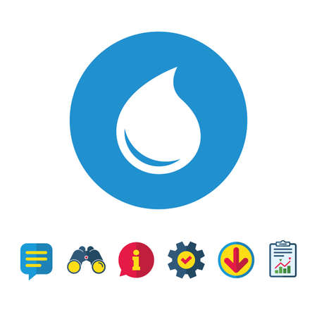 Water drop sign icon. Tear symbol. Information, Report and Speech bubble signs. Binoculars, Service and Download icons. Vector