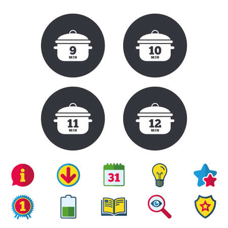 Cooking pan icons. Boil 9, 10, 11 and 12 minutes signs. Stew food symbol. Calendar, Information and Download signs. Stars, Award and Book icons. Light bulb, Shield and Search. Vector Illustration
