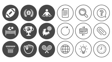 Sport games, fitness icons. Football, golf and baseball signs. Swimming, rugby and winner medal symbols. Document, Globe and Clock line signs. Lamp, Magnifier and Paper clip icons. Vector