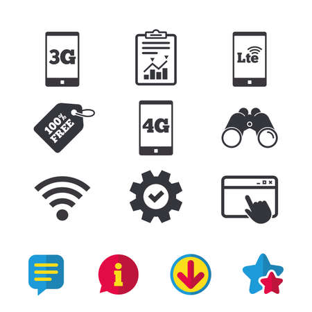 Mobile telecommunications icons. 3G, 4G and LTE technology symbols. Wi-fi Wireless and Long-Term evolution signs. Browser window, Report and Service signs. Binoculars, Information and Download icons
