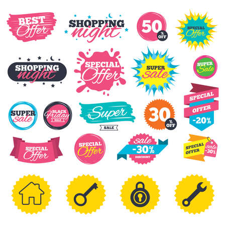 Sale shopping banners. Home key icon. Wrench service tool symbol. Locker sign. Main page web navigation. Web badges, splash and stickers. Best offer. Vector Illustration