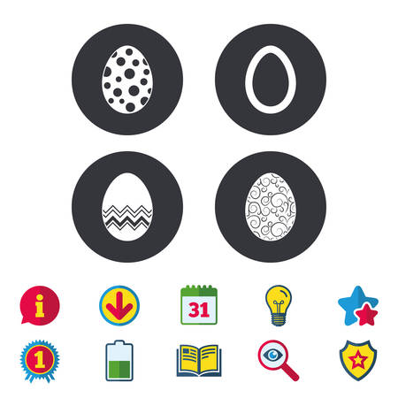 Easter eggs icons. Circles and floral patterns symbols. Tradition Pasch signs. Calendar, Information and Download signs. Stars, Award and Book icons. Light bulb, Shield and Search. Vector