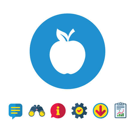 Apple sign icon. Fruit with leaf symbol. Information, Report and Speech bubble signs. Binoculars, Service and Download icons. Vector