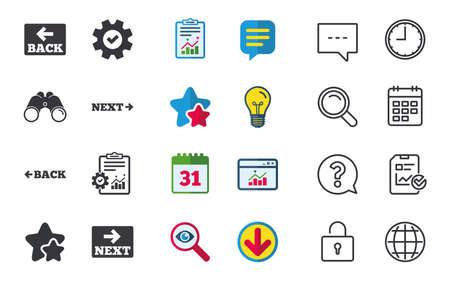 뒤로 및 다음 탐색 표지판. 화살표 방향 아이콘입니다. 채팅, 신고 및 캘린더 표지판. 별, 통계 및 다운로드 아이콘. 질문, 시계 및 글로브입니다. 벡터