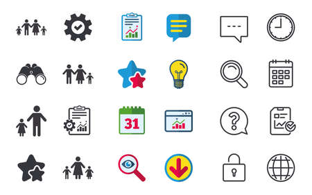 Family with two children icon. Parents and kids symbols. One-parent family signs. Mother and father divorce. Chat, Report and Calendar signs. Stars, Statistics and Download icons. Vector Illustration