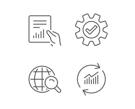 Analysis, Statistics line icons. Chart, Report and Internet search signs. Data and Presentation symbols. Quality design elements. Editable stroke. Vector