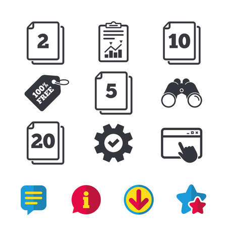 In pack sheets icons. Quantity per package symbols. 2, 5, 10 and 20 paper units in the pack signs. Browser window, Report and Service signs. Binoculars, Information and Download icons. Stars and Chat Ilustrace