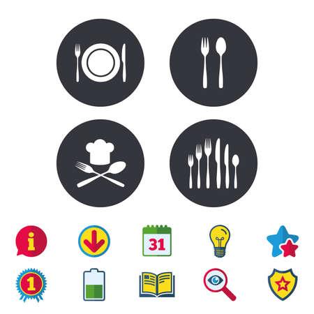 プレート皿フォークとナイフのアイコン。チーフ ハット記号。斜め刃物シンボル。デザート フォーク。カレンダー、情報およびダウンロードに署名