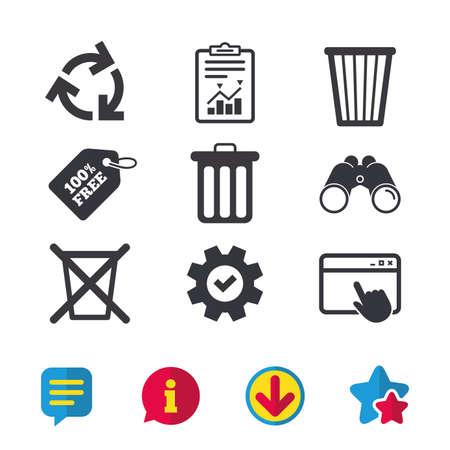 Prullenbak pictogrammen. Symbolen hergebruiken of verminderen. Vuilnisbak en recycling tekenen. Browservenster, rapport en serviceborden. Verrekijker, informatie en download pictogrammen. Sterren en chatten. Vector Stockfoto - 82183591