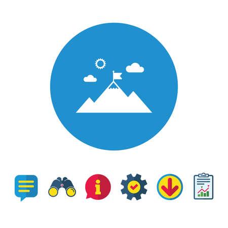 Vlag op berg pictogram. Leiderschap motivatie teken. Bergbeklimmen symbool. Informatie-, rapport- en spraakballontekens. Verrekijkers, Service en Download iconen. Vector