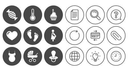 Iconos de embarazo, maternidad y cuidado de bebé. Dulces, carruajes de bebé y signos de chupete. Huella, torta y termómetro símbolos. Signos de línea de documento, globo y reloj. Iconos de clip de lámpara, lupa y papel Foto de archivo - 82183596