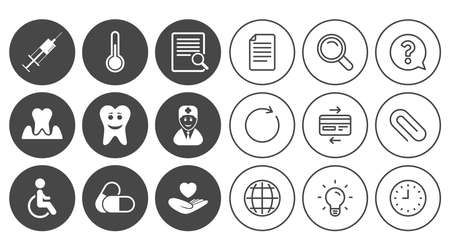 Medicine, medical health and diagnosis icons. Capsules, syringe and doctor signs. Tooth parodontosis, disabled person symbols. Document, Globe and Clock line signs. Vector