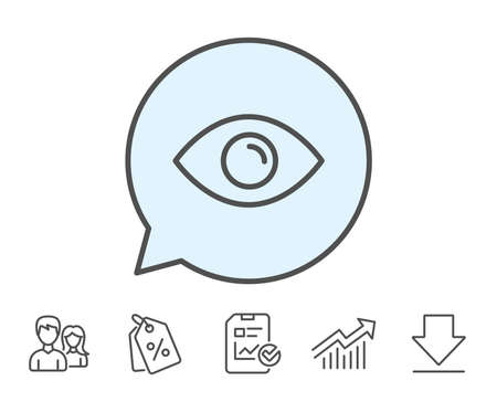 Eye line icon. Look or Optical Vision sign. View or Watch symbol. Report, Sale Coupons and Chart line signs. Download, Group icons. Editable stroke. Vector Illustration