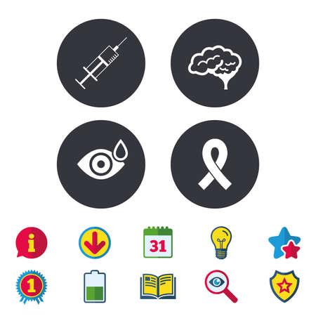 의학 아이콘입니다. 주사기, 드롭, 뇌 및 리본 징후와 눈. 유방암 인식 기호. 인간의 똑똑한 마음. 달력, 정보 및 다운로드 표지판. 별, 수상 및 책 아이 일러스트