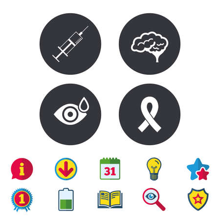 Medicine icons. Syringe, eye with drop, brain and ribbon signs. Breast cancer awareness symbol. Human smart mind. Calendar, Information and Download signs. Stars, Award and Book icons. Vector