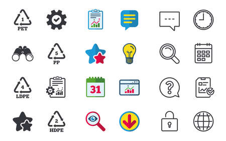 PET 1, Ld-pe 4, PP 5 and Hd-pe 2 icons. High-density Polyethylene terephthalate sign. Recycling symbol. Chat, Report and Calendar signs. Stars, Statistics and Download icons. Question, Clock and Globe Stok Fotoğraf - 82182180