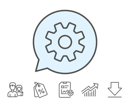 Cogwheel line icon. Service sign. Transmission Rotation Mechanism symbol. Report, Sale Coupons and Chart line signs. Download, Group icons. Editable stroke. Vector Illustration