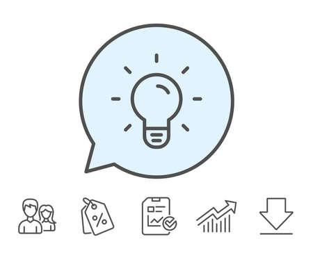 전구 아이콘입니다. 램프 기호입니다. 아이디어, 솔루션 또는 생각 기호입니다. 보고서, 판매 쿠폰 및 차트 라인 기호. 다운로드, 그룹 아이콘. 편집 가
