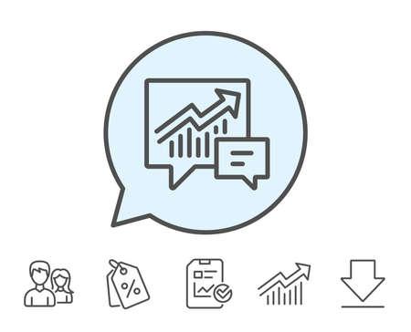 グラフの線のアイコン。レポート グラフまたはふきだし内販売成長のサインです。分析と統計データのシンボル。レポート、販売クーポン、グラフ  イラスト・ベクター素材