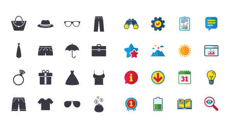 Set of Clothes, Accessories and Glasses icons. Shirt, Umbrella and Hat signs. Wallet, Handbag and Briefcase symbols. Calendar, Report and Browser window signs. Stars, Service and Download icons