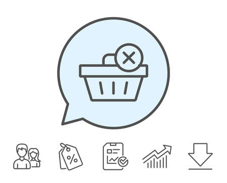 Remove Shopping cart line icon. Online buying sign. Supermarket basket symbol. Report, Sale Coupons and Chart line signs. Download, Group icons. Editable stroke. Vector