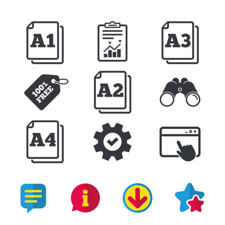 Paper size standard icons. Document symbols. A1, A2, A3 and A4 page signs. Browser window, Report and Service signs. Binoculars, Information and Download icons. Stars and Chat. Vector Zdjęcie Seryjne - 82182202