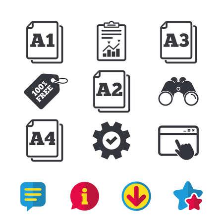 Standaardpictogrammen op papierformaat. Document symbolen. A1, A2, A3 en A4 paginakentekens. Browservenster, rapport en serviceborden. Verrekijker, informatie en download pictogrammen. Sterren en chatten. Vector Stockfoto - 82182202