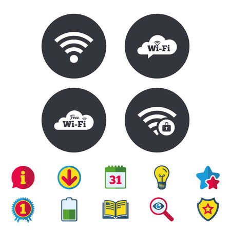 Free Wifi Wireless Network cloud speech bubble icons. Wi-fi zone locked symbols. Password protected Wi-fi sign. Calendar, Information and Download signs. Stars, Award and Book icons. Vector