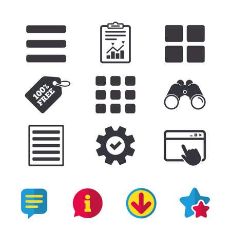 Elenca le icone del menu. Simboli delle opzioni di visualizzazione del contenuto. Griglia miniature o vista Galleria. Finestra del browser, segnalazioni e segni di servizio. Binocoli, informazioni e icone di download. Stelle e chat. Vettore Archivio Fotografico - 82182206