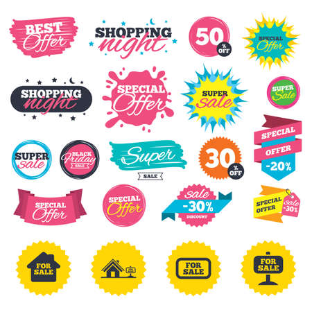 Sale shopping banners. For sale icons. Real estate selling signs. Home house symbol. Web badges, splash and stickers. Best offer. Vector Ilustracja