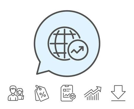 世界の統計情報線のアイコン。グラフまたは売上成長の兆候を報告します。データ分析グラフのシンボル。レポート、販売クーポン、グラフ線の標