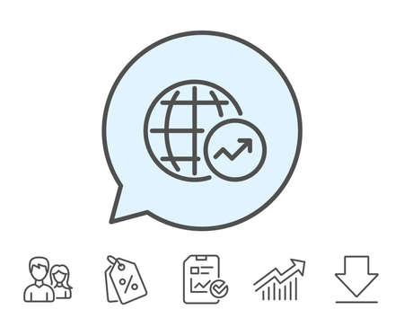 World Statistics line icon. Report chart or Sales growth sign. Data Analysis graph symbol. Report, Sale Coupons and Chart line signs. Download, Group icons. Editable stroke. Vector Illusztráció