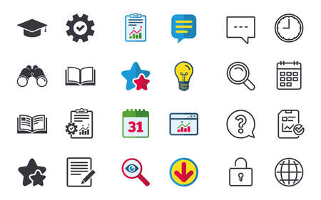 Pencil with document and open book icons. Graduation cap symbol. Higher education learn signs. Chat, Report and Calendar signs. Stars, Statistics and Download icons. Question, Clock and Globe. Vector 向量圖像