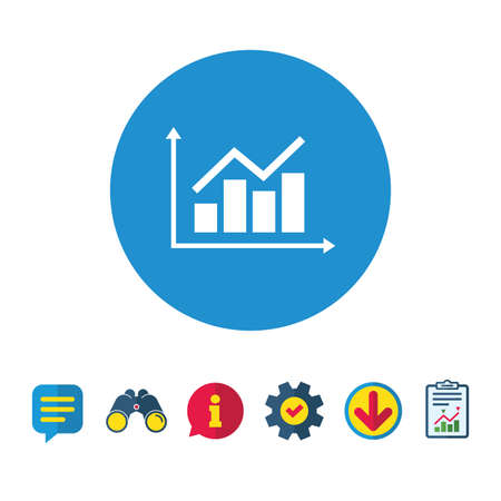 Graph chart sign icon. Diagram symbol. Statistics. Information, Report and Speech bubble signs. Binoculars, Service and Download icons. Vector Çizim