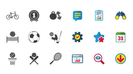 Sportspellen, fitness pictogrammen zoals voetbal, basketbal, tennis, golf, fiets en winnaar medaille symbolen, kalender, rapport en download tekenen, sterren, service en zoek iconen vector Stock Illustratie