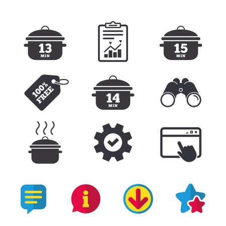요리 팬 아이콘, 13 분, 14 분 15 분 징후, 스튜 음식 기호, 브라우저 창, 보고서 및 서비스 표지판, 쌍안경, 정보 및 다운로드 아이콘, 별 및 채팅 벡터.