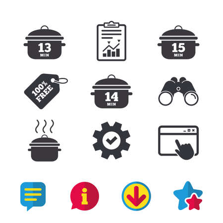 Cooking pan icons, Boil 13, 14 and 15 minutes signs, Stew food symbol, Browser window, Report and Service signs, Binoculars, Information and Download icons, Stars and Chat Vector.