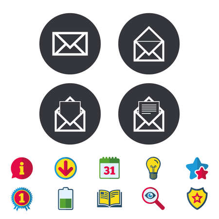 Mail envelope icons. Message document symbols. Post office letter signs. Calendar, Information and Download signs. Stars, Award and Book icons. Light bulb, Shield and Search. Vector