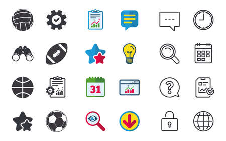 Sport balls icons. Volleyball, Basketball, Soccer and American football signs. Team sport games. Chat, Report and Calendar signs. Stars, Statistics and Download icons. Question, Clock and Globe Illustration