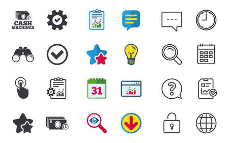 ATM cash machine withdrawal icons. Click here, check PIN number, processing and cash withdrawal symbols. Chat, Report and Calendar signs. Stars, Statistics and Download icons. Vector Illustration